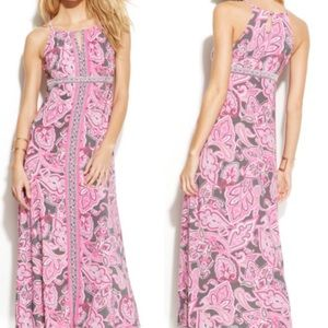 INC Flower Shop Pink Paisley Maxi Dress XL